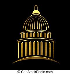edificio, dorado, capitolio, icono