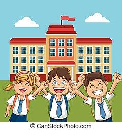 edificio, eduque yarda, espalda, alegre, estudiante