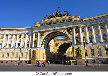 edificio, ejército, general, santo, russia., petersburg, ...