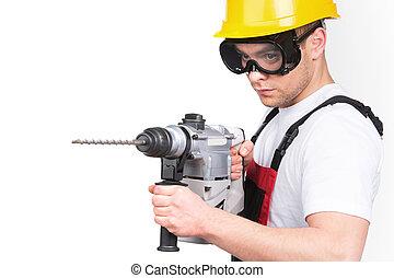 edificio, eléctrico, ingeniero, manual, herramienta, trabajador, plano de fondo, helmet., construcción, seguridad, taladro, tenencia, hardhat, blanco masculino, martillo, o, hombre