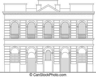 edificio, elevación, mansión, plano de fondo, herencia, ...