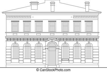 edificio, elevación, mansión, plano de fondo, herencia, frente, blanco, visto