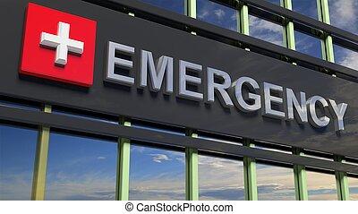 edificio, emergencia, cielo, señal, reflejar, vidrio.,...