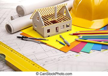 edificio, encima, herramientas, planos