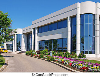 edificio, entranceway, parque industrial