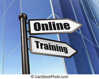 edificio, entrenamiento, plano de fondo, educación en línea, concept: