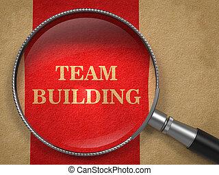 edificio equipo, por, un, lupa