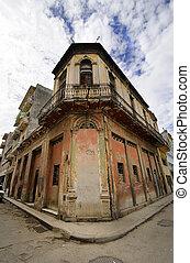 edificio, erosionado, la habana, calle