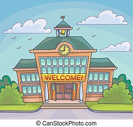 edificio, escuela, brillante, ilustración, caricatura