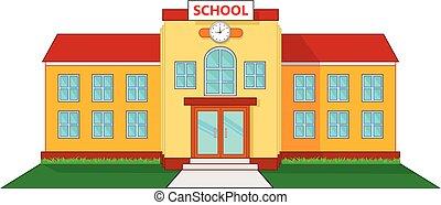 edificio, escuela, caricatura