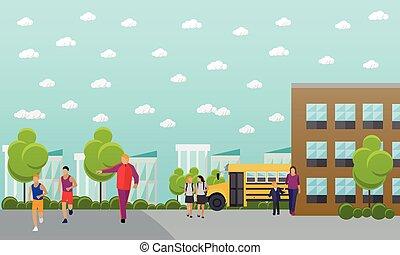 edificio, escuela, concepto, banner., yarda, vector, colegio, autobús