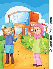 edificio, escuela, musulmán, hembra, frente, macho
