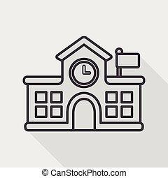 edificio, escuela, plano, icono, con, largo, sombra