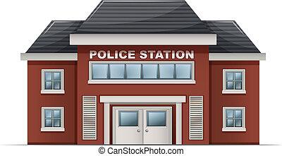 edificio, estación, policía