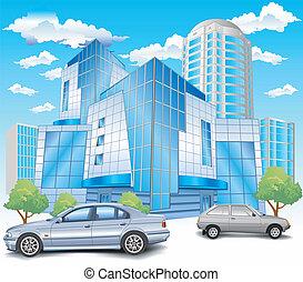 edificio, estacionamiento