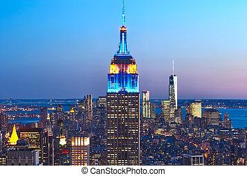 edificio, estado, noche, cityscape, imperio, manhattan,...