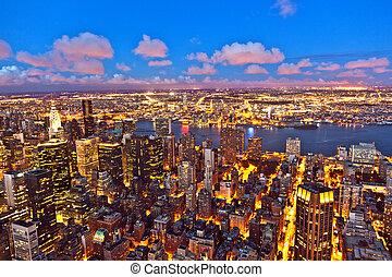 edificio, estado, york, noche, nuevo, imperio