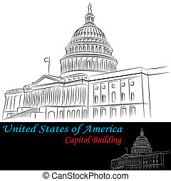 edificio, estados, unido, capitolio, américa