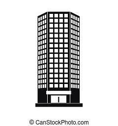 edificio, estilo, oficina, simple, moderno, icono