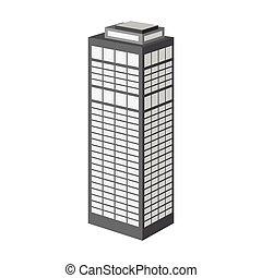 edificio, estilo, símbolo, torre, web., ilustración, solo, vector, rascacielos, skyscraper., monocromo, icono, acción