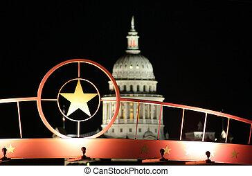 edificio, estrella, capitolio, estado, noche, tejas