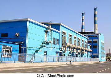 edificio, fabricación, china, fábrica, exterior