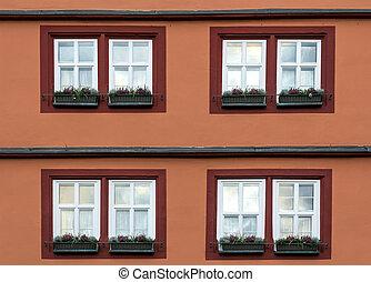 edificio, fasade, imagen, detalle, windows