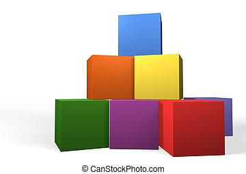edificio, formación, pirámide, bloques