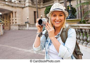 edificio, frente, cámara, turista, histórico