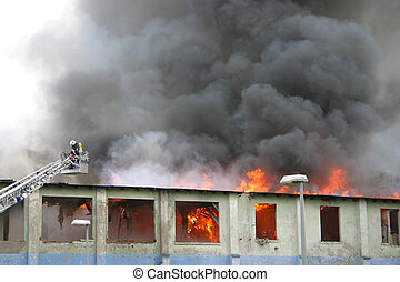 edificio, fuego