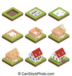 edificio, fundación, isométrico, conjunto, instalación, illustration., stage-by-stage, casa, process., house., techo, paredes, vector, diseño, el verter, construcción, ladrillo, paisaje