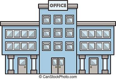 edificio, garabato, oficina, ilustración