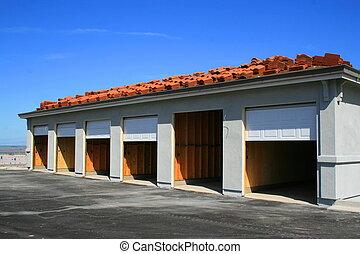edificio, garaje, construcción, debajo