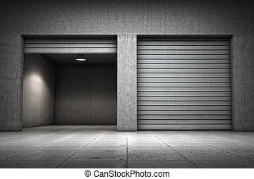 edificio, garaje, hecho, concreto