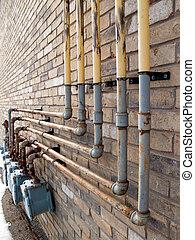 edificio, gas, tubos, natural, lado