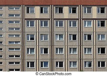edificio, gdr, viejo, /ddr, berlín, fachada, este