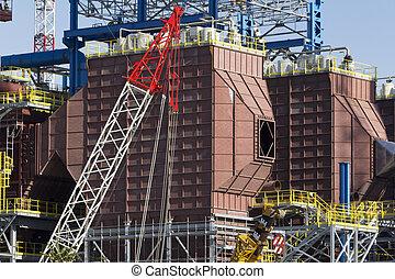 edificio, gerbido, sitio, incinerator