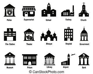 edificio, gobierno, conjunto, negro, iconos