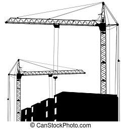 edificio, grúas, silueta, dos, trabajando