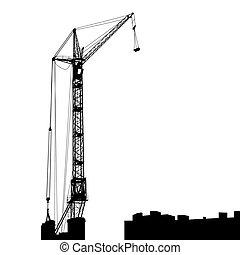 edificio, grúas, silueta, trabajando, uno