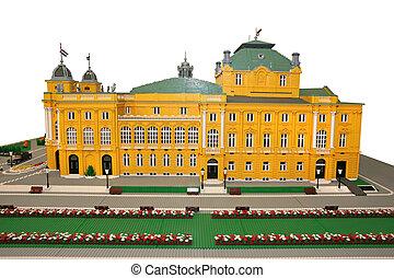 edificio, hecho, bloques, teatro, lego, nacional, croata