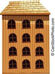 edificio, hecho, de, madera