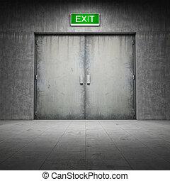 edificio, hecho, puerta, concreto, salida, ??of
