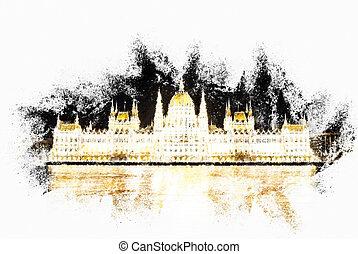 edificio, hermoso, parlamento, húngaro, illu, brillante