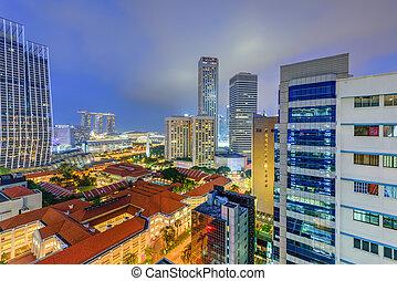 edificio, hora, azul, céntrico, contornos, hdb, complejo, iluminado, singapur