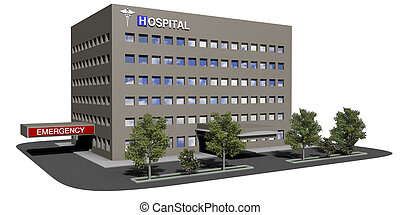 edificio, hospital, fondo blanco