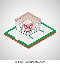 edificio, hospital, vector, illustration.