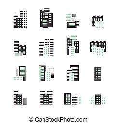 edificio, icono, conjunto
