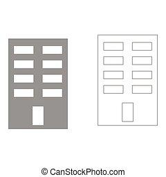 edificio, icono, .
