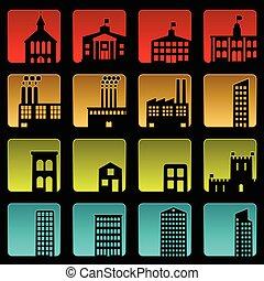 edificio, iconos